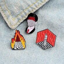Твин Пикс фильм Мультфильм отворот булавки брошь металлический значок винтажная классика Мода ретро ювелирные изделия коллекция подарков