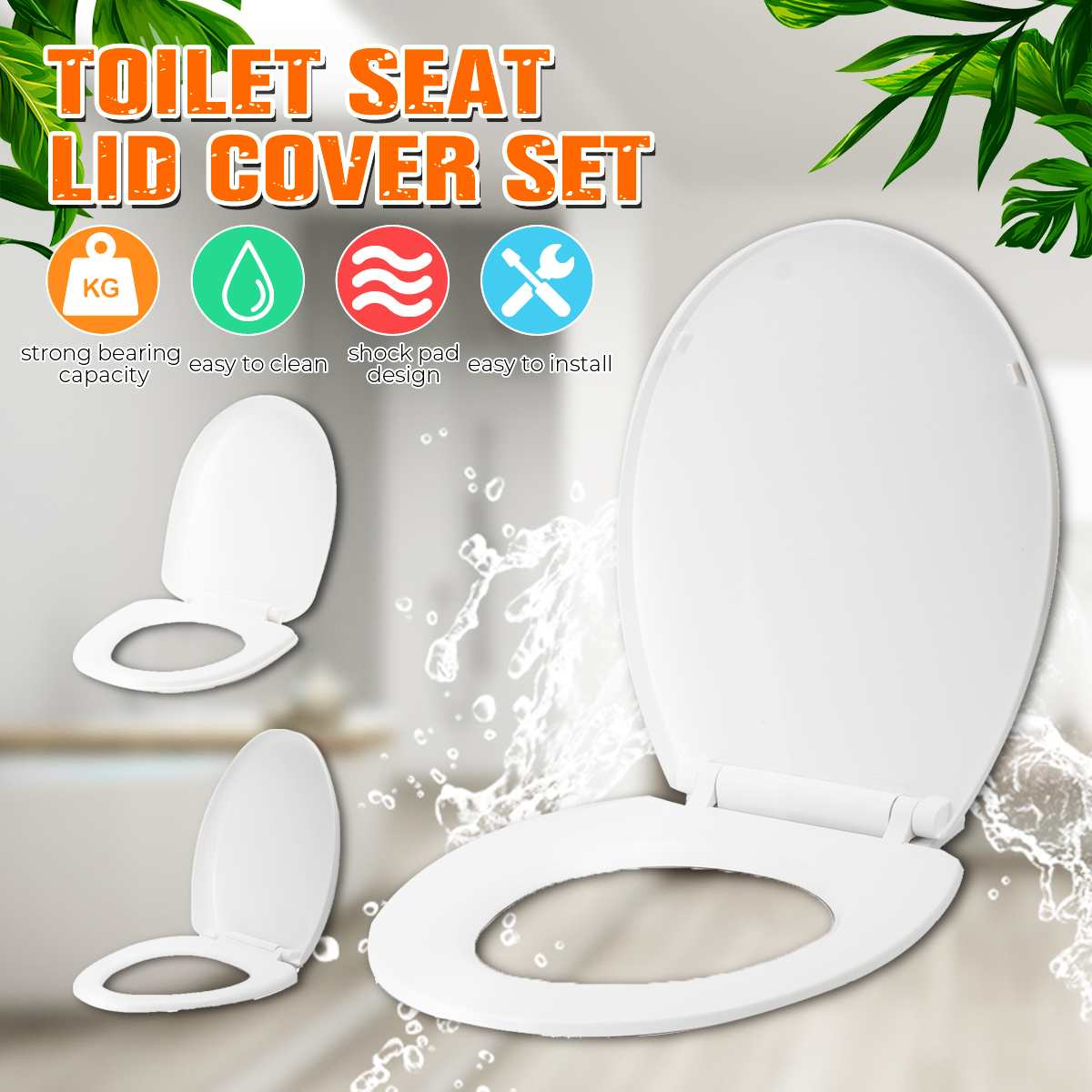 Xueqin Square Round Universal Slow-Close Toilet Seat Lid Cover Set ABS Thicken Toilet Seat Replacement Antibacterial 3Types