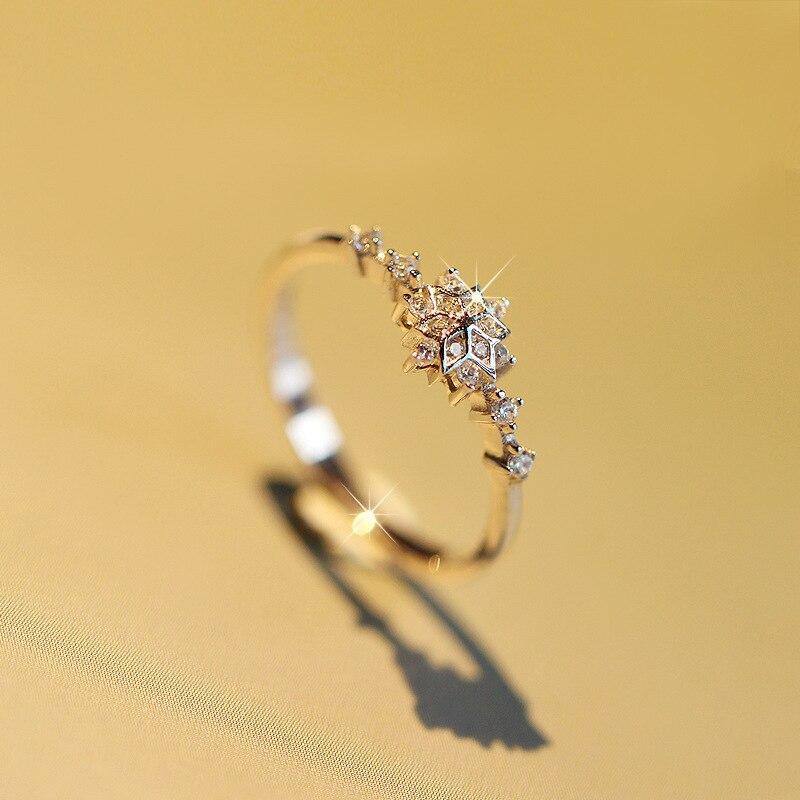 יוקרה נקבה פרח Snowflake טבעת 100% אמיתי 925 כסף סטרלינג חתונה להקת טבעת הבטחת אהבת אירוסין טבעות לנשים