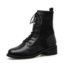 New Fashion Lace-up Ankle Boots For Women Boots Round Toe Black Platform Patent Leather Ladies Socks Boots Botas zapatos Mujer stylesowner lace up elastic knitting sock boots platform thick heels shoes round toe fashion sneaker boots non slip botas mujer