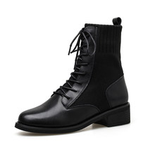 New Fashion Lace-up Ankle Boots For Women Shoes Booties Woman Round Toe Black Platform Patent Leather Women Boots Ladies Boots(China)