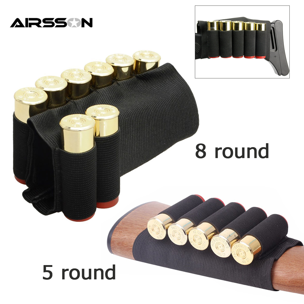 Tactical Bullet Pouch Bag Ammo Carrier 12GA Military Airsoft Shell Holder 5/8 Round Gun Cartridge Buttstock Hunting Accessories