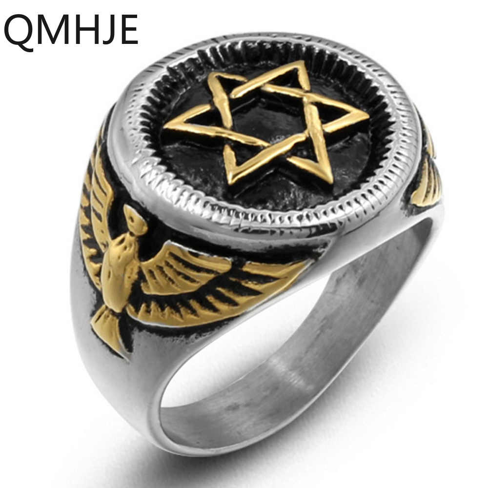 Titanio Acero inoxidable hombres anillos hexagonal estrella águila oro plata cadera Rock Biker banda hombre joyería boda sello Vintage