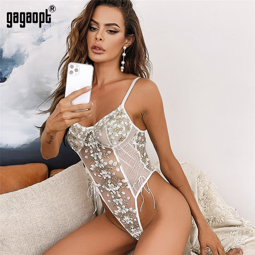 Gagaopt Embroidery Lace Body Women Sexy Fitness Bodysuit Sleeveless Bodycon Rompers See Through Overalls 2020 New Wholesale