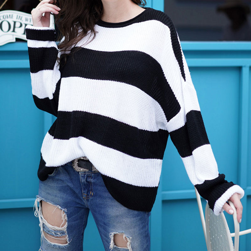 Women Striped Pullover Loose Casual Knitwear Sweaters Pullovers Red Black White Female Autumn Tops