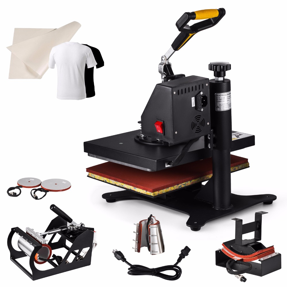 6IN1 Heat Press Maschine T-shirt 30x25cm Digital Hitze-Pressen Timer Control Exquisite