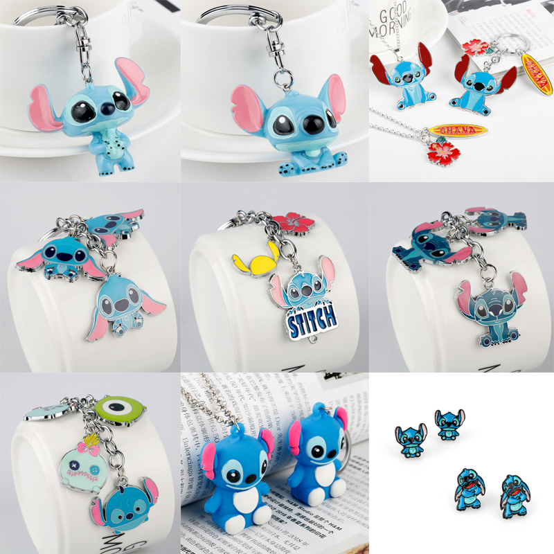 Cartoon Lilo & Stitch Keychain Anime Cute Ohana Friendship Pendants Necklace Key Chain Car Keyring Metal Enamel Chaveiro Gifts