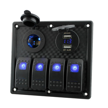 Hot 12V-24V Waterproof 4-Gang Toggle Switch Panel Led Rocker Switch Panel with Cigarette Lighter Socket Dual USB Port Voltmeter