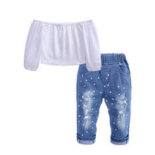 2019 Baby Child Girl Clothes Flat Shoulder Solid Color Lace Shirt + Denim Pants Suit  New Born