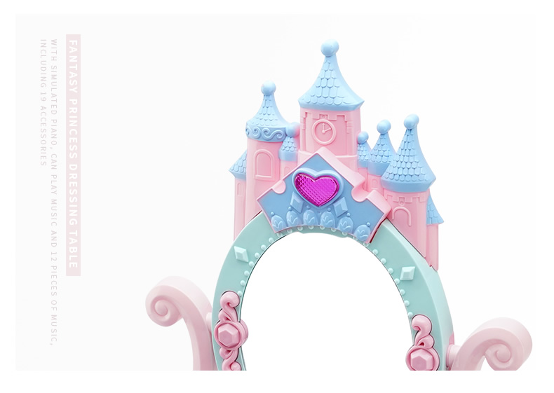 Girl Dresser Set Princess Dressing Table Girl Cosmetics Kids Makeup Case Child Toy Hair Dryer