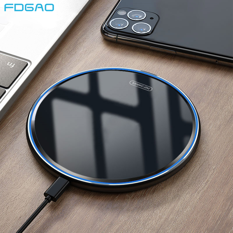 FDGAO 15W Fast Wireless Charger For Xiaomi Mi 9 Samsung S10 S9 Note 9 iphone 11 Pro X XS MAX XR 8 Qi Induction Charging Dock Pad(China)