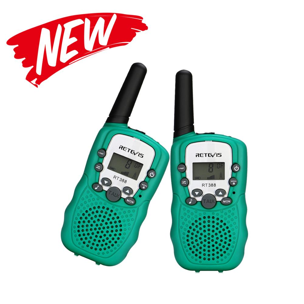 Retevis New  RT388  Walkie Talkie Kids 2pcs Green PMR 8 Channel Walkie-talkie PMR 446 Two Way Radio For Hunting  Camping Fishing