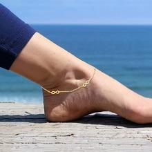 Браслет на лодыжку USTAR Infinity в богемном стиле, золотая цепочка из нержавеющей стали, летние пляжные ножные браслеты для женщин на босую ногу, ...