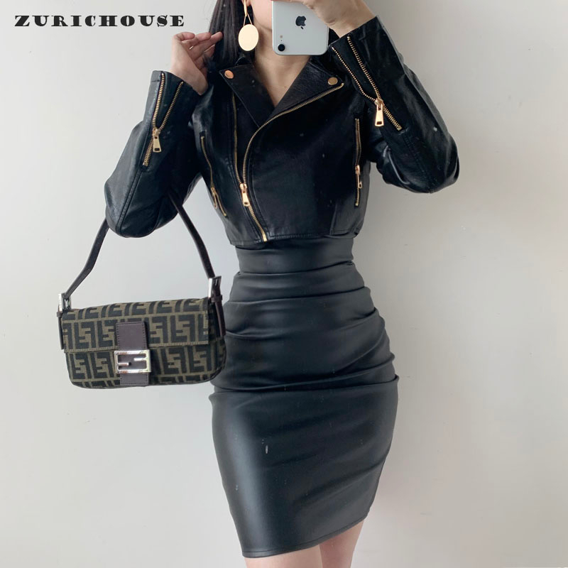 ZURICHOUSE Cropped Leather Jacket Women Spring 2020 Fashion Turn-down Collar High Waist Faux Leather Biker Jacket Female