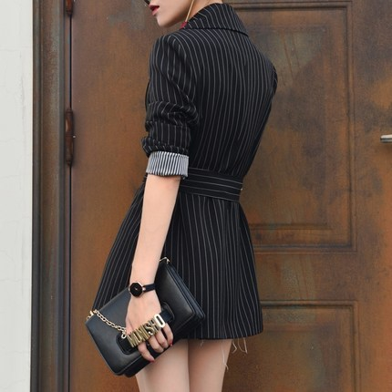 New Spring Autumn Women Black Striped Office Lady Blazer Long Sleeve Jackets Business Blazers Suit Casaco Feminino LX97