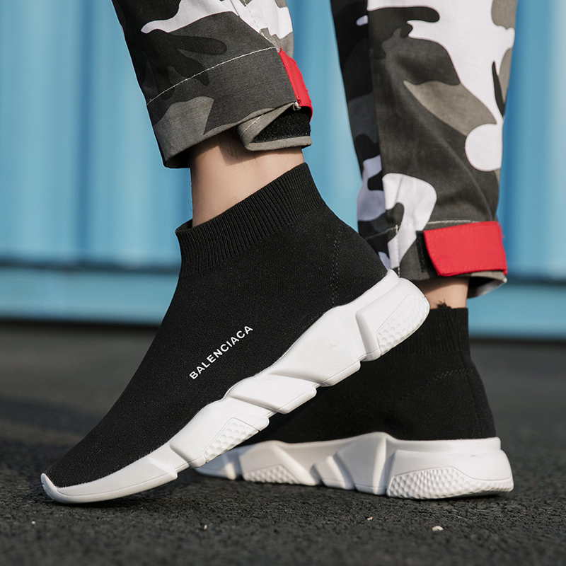 Unisex Sports Casual Shoes Fashion Men Designer Brand Sock Sneakers Women Breathable Light Trainers Walking Footwear Tenis Black