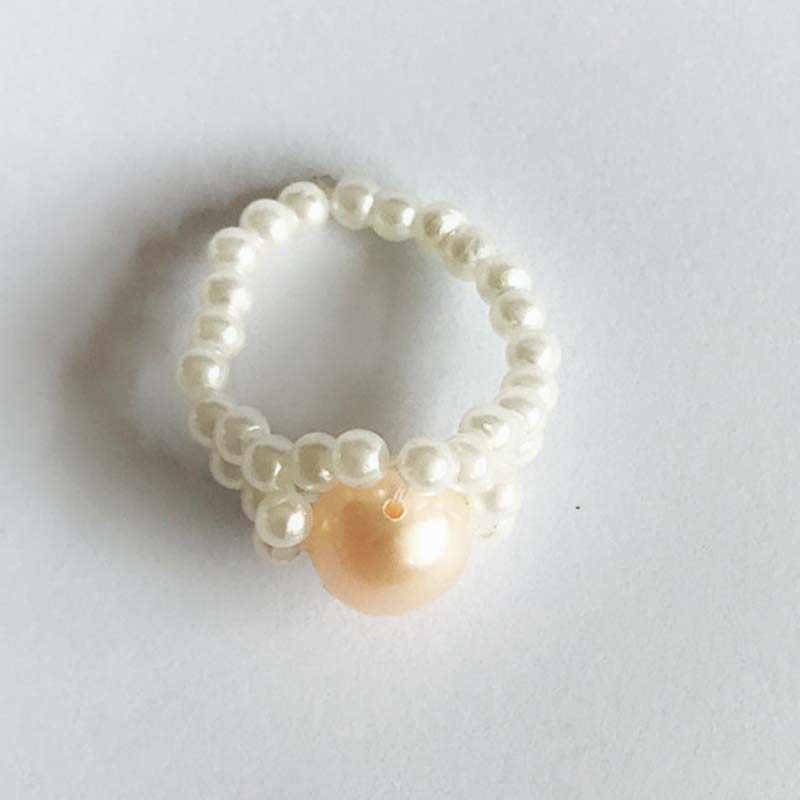 Anillos de perlas de imitación de moda para mujeres elegante Simple estiramiento Color blanco perla tejido anillo hecho a mano joyería