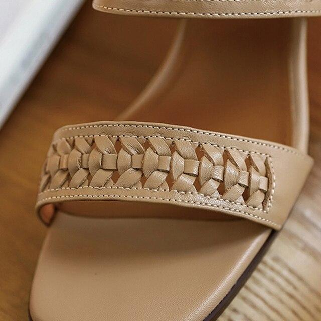 Donna in Weave Women Sandals Leather Calfskin Buckle Gladiator Heels Elegant Dress Back Strap Summer Sandals