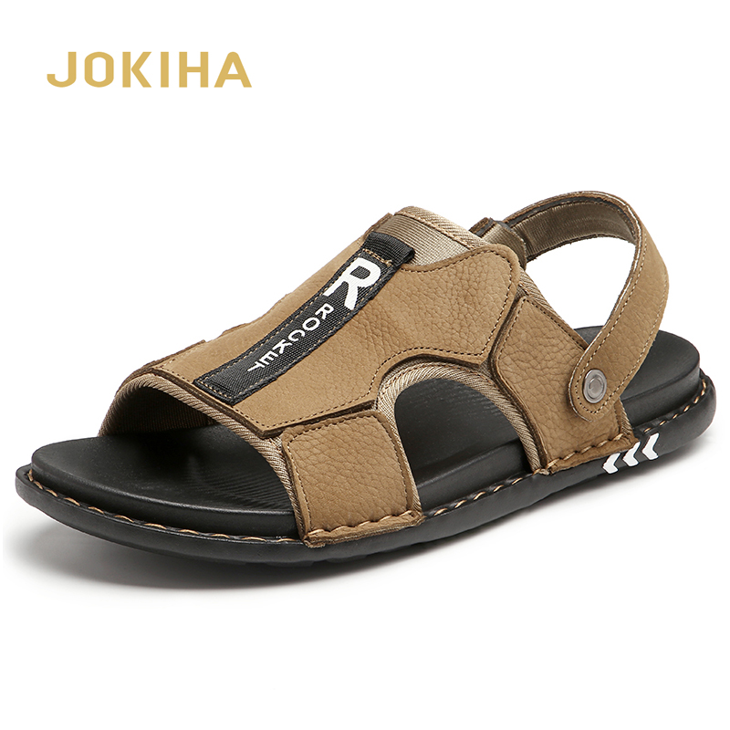 Summer Men's Leather Sandals 2020 New Genuine Leather Slippers For Men Classic Slides Men
