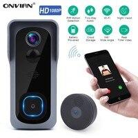Onvian 와이파이 초인종 카메라 방수 1080P HD 비디오 도어 벨 모션 감지기 스마트 무선 초인종 카메라 나이트 비전