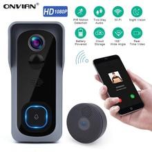 Onvian WiFi kapı zili kamera su geçirmez 1080P HD Video kapı zili hareket dedektörü akıllı kablosuz kapı zili kamera gece görüş ile