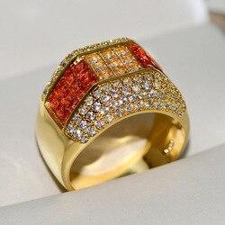18-ти кратного желтого золота 1,5 карат алмазов круглое кольцо De Bizuteria Для мужчин кольца, ювелирные изделия Bijoux Femme (украшения своими руками) 18 K ...