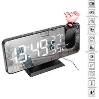 Wekker Digitale Tafel Klok Met Projectie Snooze Fm Radio Led Projector Clock Temperatuur Vochtigheid Elektronische Desk Klokken