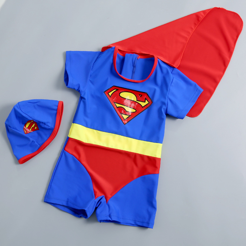 19 New Style Hot Sales One-piece Swimming Suit Short Sleeve Shorts Send Swimming Cap Mantle Superman Pattern Cute BOY'S KID'S Sw