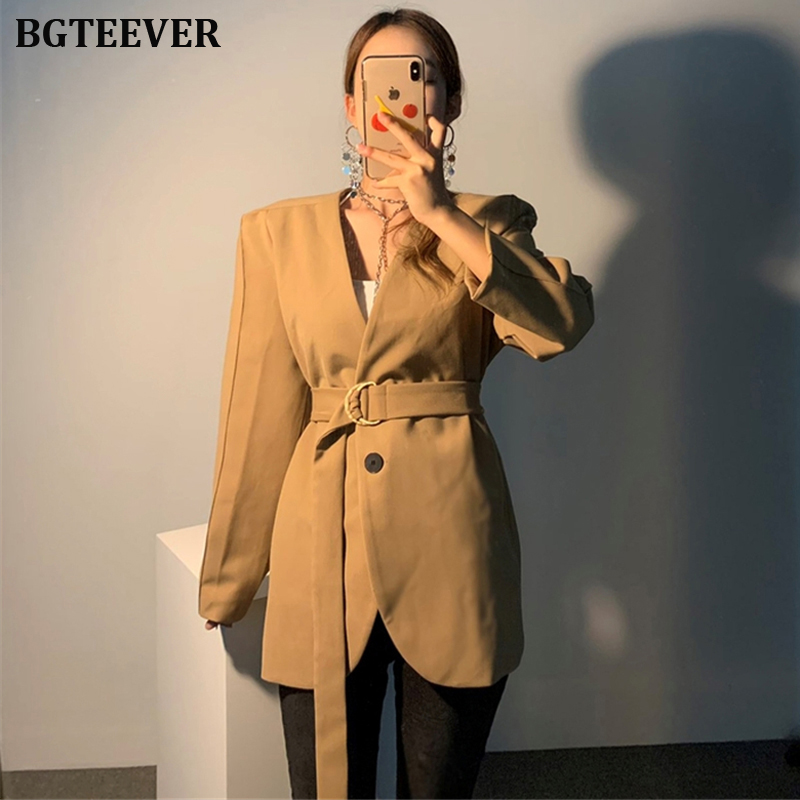 Fashion Women Blazer V-neck Sashes Female Suit Jackets 2019 Autumn Full Sleeve Women Outerwear Coat One Button Ladies Blazer