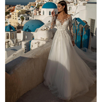 Verngo Lace Appliques Wedding dress Vintage Beading Bride Dress Elegant Long Sleeves Wedding Gowns 2020 Vistido De Casamento