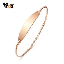 Vnox Elegant Women's Bangle 585 Rose Gold Color Stainless Steel Girls Cuff Bracelet Female Party Jewels(China)