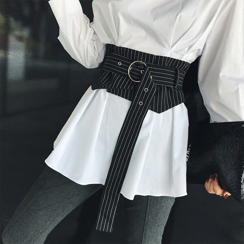 New Arrivals Women Wide Waist Belt Black Striped Fashion American Style Bandage Waistband For Female Autumn T-shirt Accessories