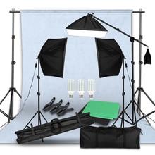 写真撮影の背景フレームサポートソフトボックス照明キット写真スタジオ機器の付属品3個と背景と三脚スタンド
