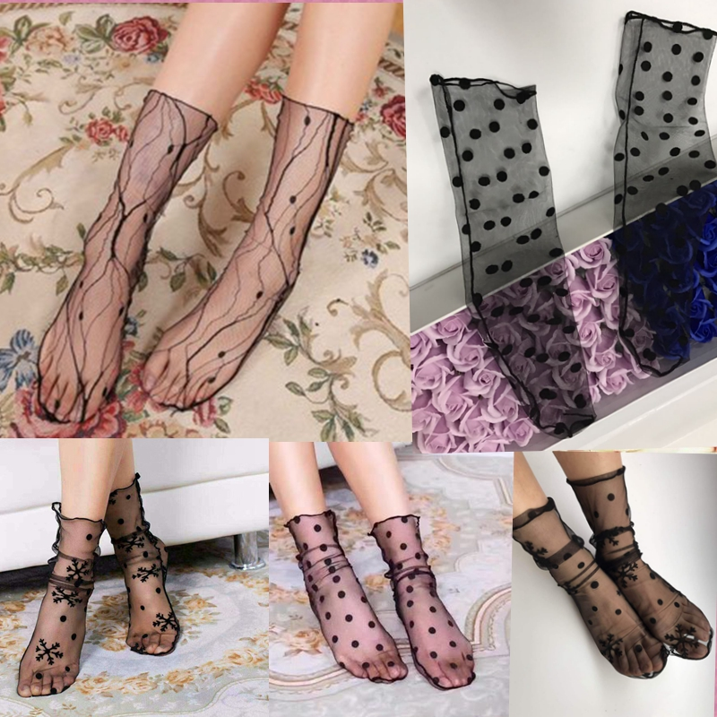 New Spring And Summer Thin Middle Tube Transparent Mesh Socks Women's Fashion All-Around Mesh Breathable Lace Socks