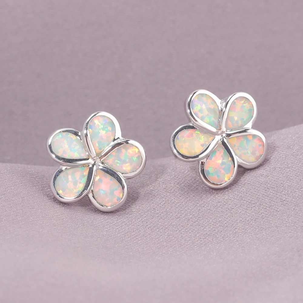 CiNily White & Blue Fire Opal Stud Earrings Silver Plated Flower Flora Gardenia Bohemia Boho Summer Chic Jewelry Gift Woman Gift