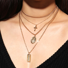 [ALFOU] brand Punk Multi Layered Pearl Choker Necklace Gold/Silver alloy cross Pendant necklace women's Necklace Women Jewelry стоимость