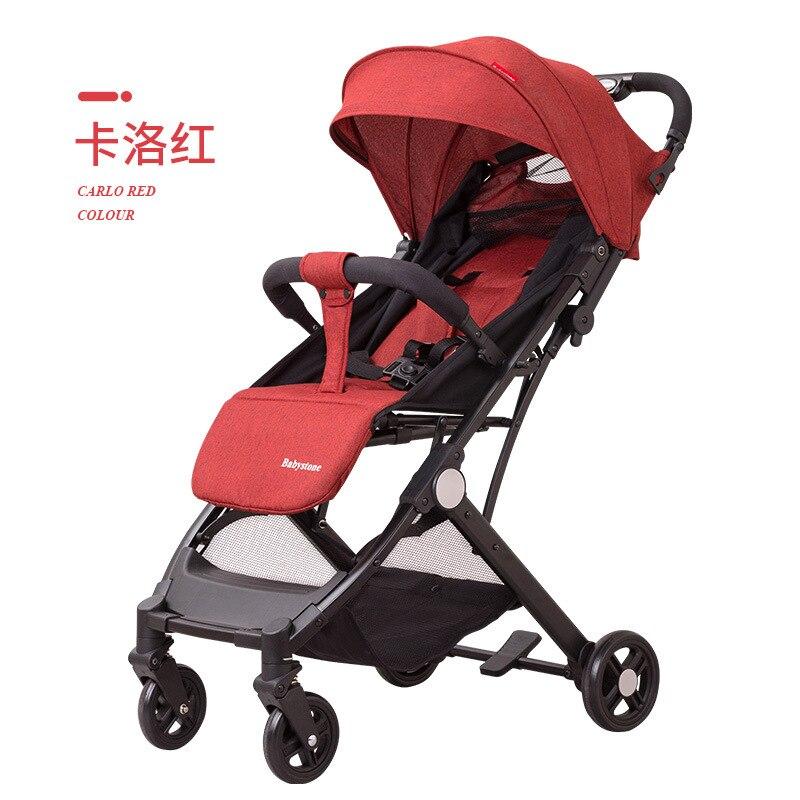 New High View Baby Stroller Four-wheel Children's Folding Trolley  Lying Down Sitting  Light  Small  Boarding
