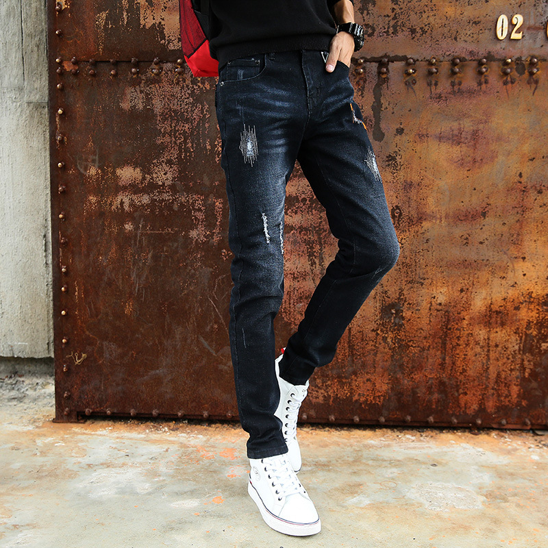 Spring And Autumn Men Fashion Slim Fit Korean-style MEN'S Jeans Trend Fashion Patch MEN'S Wear Long Pants