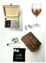 9 Pçs/lote Pedra Uísque com Caixa De Madeira & Saco de Veludo Whisky Rochas Pedras Coolers Cubo de Pedra Presente de Natal