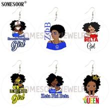 Drop-Earrings Melanin Queen Wokers Gifts Wooden Printing Girl Fashion Women SOMESOOR