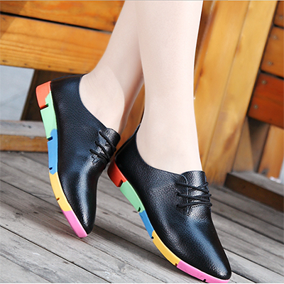 Women's shoes classic style pointed flat work shoes leather women's shoes