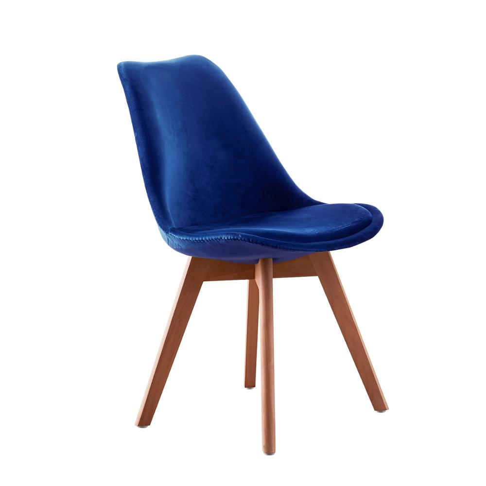 EGGREE Tulip Velvet Dining Chair For Dining Room, Bedroom And Living Room - Blue - 2-8days EU Warehouse
