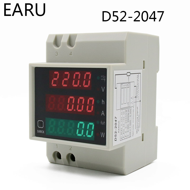 DIN-rail Multi-function LED Digital Meter AC 80-300V 200-450V 0-100A Active Power Factor Electric Energy Ammeter Voltmeter DIY