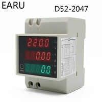 DIN-rail Multi-function LED Digital Meter AC 80-300V 200-450V 0-100A Active Power Factor Electric Energy Ammeter Voltmeter DIY
