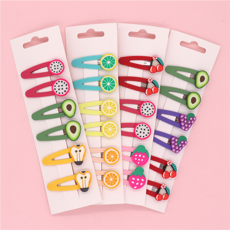 6Pcs/Set Korean Cute Colorful Baby Hair Clips Fruit 5 Cm Hairpins Sweet Kids Girls Bobby Pin Barrette Headdress Accessories