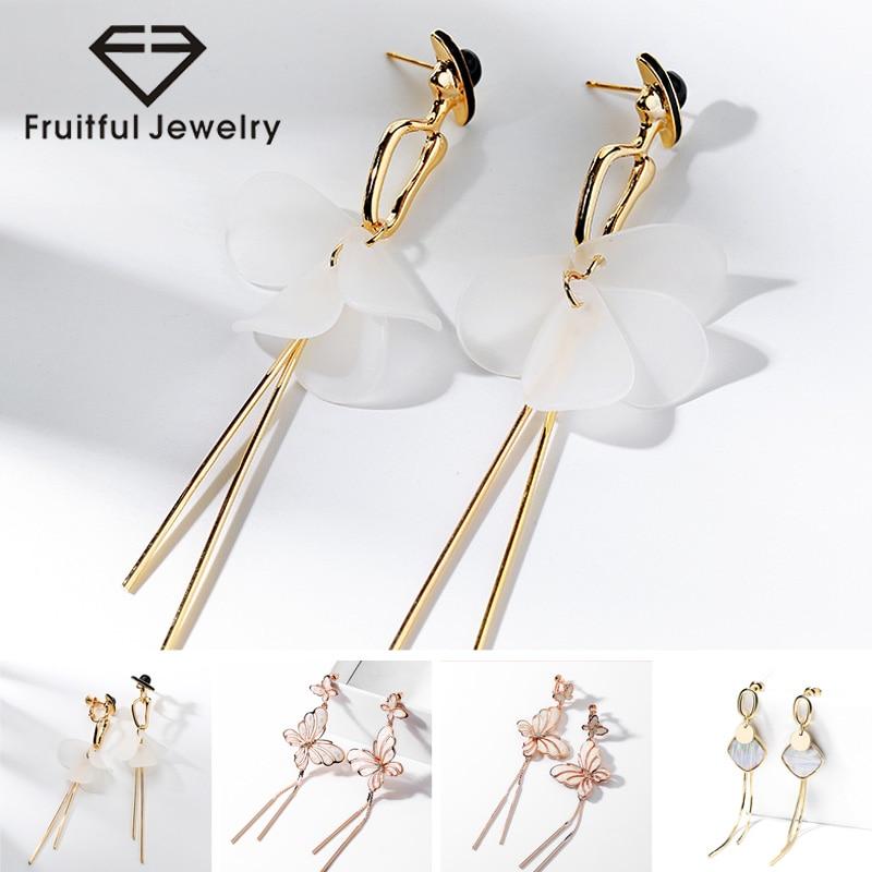 Fruitful Gold Plating Delicate Butterfly Tassel Fashion Drop Earrings Elegant Noble Dancing Girl For Women 925 Silver Pin