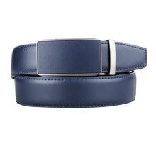 Cinto de couro de luxo genuíno de alta qualidade para homens cinta masculina de metal azul couro fivela automática