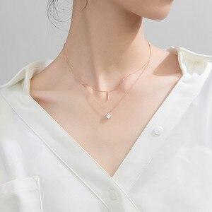 Image 2 - WANTME Fashion Echtes 100% 925 Sterling Silber Doppel Kreuz Seil Schlüsselbein Kette Runde Kristall Zirkon Anhänger Halskette Frauen