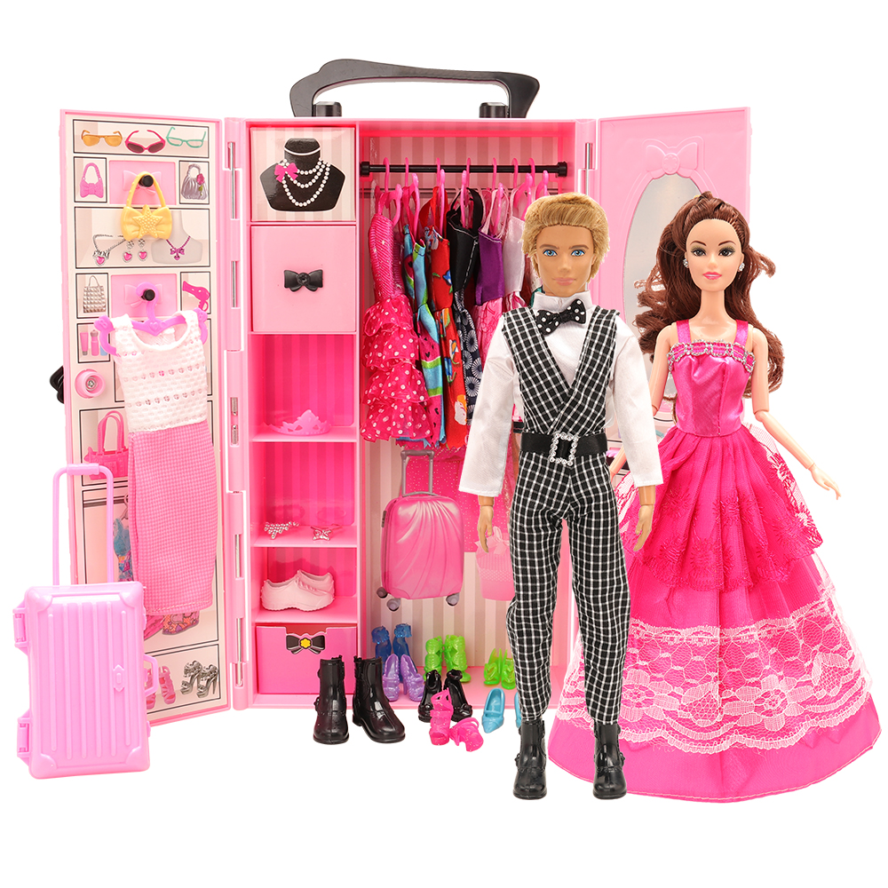 Newest Fashion 43 Items/set Dollhouse Furniture= Wardrobe + 42 Dolls Accessories Clothes For Barbie Ken Game Christmas Kids Toys