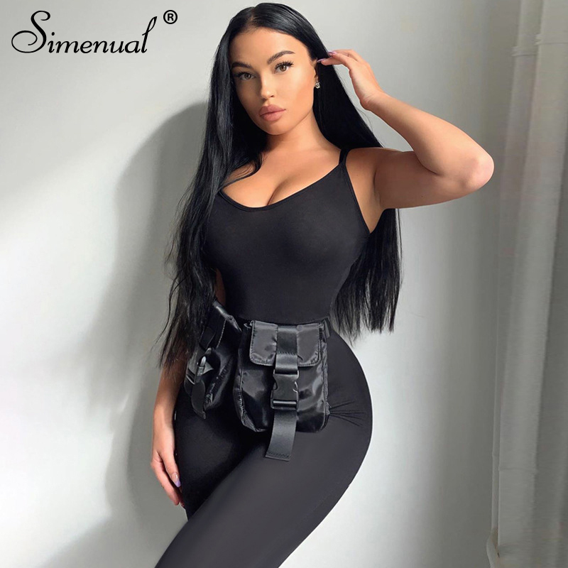 Simenual Casual Workout One Piece Rompers Womens Jumpsuit Strap Fitness Bodycon Solid Slim 2020 Summer Jumpsuits Fashion Sporty